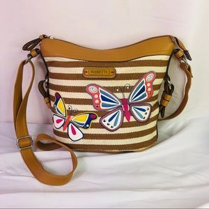 Rosetti Butterflies White Tan Canvas Hand Purse